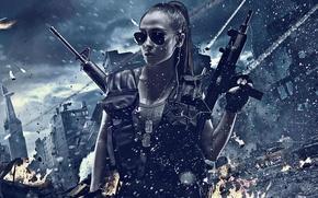 Картинка девушка, взрыв, город, оружие, стрельба