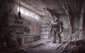 Обои Броня, Bethesda, Мастерская, Экипировка, Fallout 4, Силовая Броня, Bethesda Softworks, Арт, Бостон, Пустошь, Апокалипсис, Bethesda ...