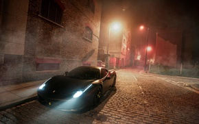 Картинка Ferrari, 458, Black, Night, Fog, GFWilliams Photographer