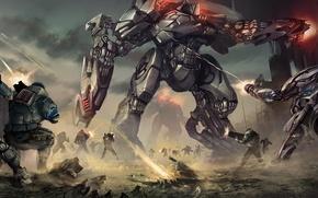Обои война, взрывы, роботы, солдаты, лазеры