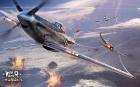 Картинка небо, облака, огонь, война, Mustang, истребитель, Boeing, бомбардировщик, Арт, американский, North American, B-17, немецкий, поршневой, …