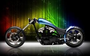 Картинка мотоцикл, Blue, Black, Bike, Custom, Motorcycle