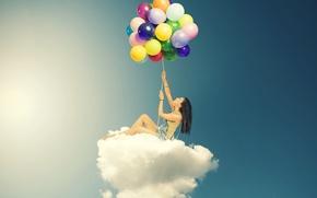 Картинка небо, девушка, облака, шарики, воздушные шары, фон, обои, настроения, женщина, цветные, облако, wallpaper, широкоформатные, background, …