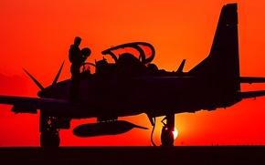 Картинка силуэт, пилот, штурмовик, лёгкий, турбовинтовой, A-29, Super Tucano