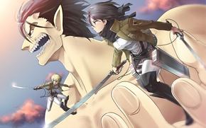 Картинка девушка, оружие, меч, аниме, арт, гигант, парень, сражение, shingeki no kyojin, mikasa ackerman, eren jaeger, …