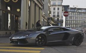 Обои street, авентадор, lp700-4, серый, aventador, ламборгини, supercar, Lamborghini, суперкар, girl, улица, девушка, gray