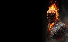 Обои темный фон, огонь, пламя, череп, скелет, призрачный гонщик, ghost rider