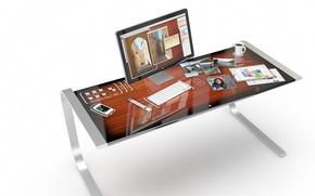 Картинка дизайн, отражение, стол, Apple, concept, iDesk