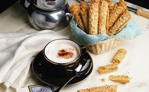 Обои блюдце, стол, Чашка, кофе, ложка, вафли