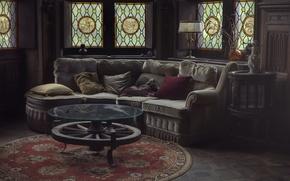 Картинка комната, диван, лампа, витражи, подушки. стол