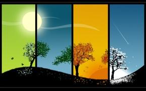Картинка солнце, деревья, времена года, сезоны