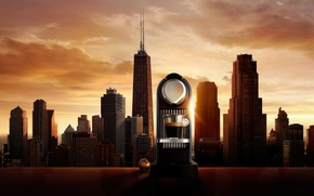 Картинка город, кофе, утро, чашка, USA, Chicago, кофемашина, good morning Chicago