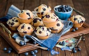 Картинка ягоды, черника, ложка, натюрморт, ключи, десерт, выпечка, карточка, открытка, кексы