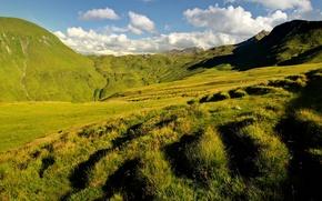Картинка зелень, трава, облака, холмы