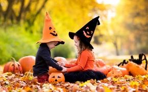 Картинка осень, листья, радость, дети, девочки, Halloween, тыква, girl, Pumpkin, хэллоуин, nature, колпак, autumn, leaves, children