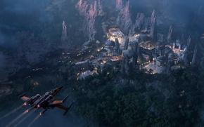 Обои concept, Star Wars, rock, Disney, art, California, mountains, citadel, ship, Disneyland, Han Solo, Millennium Falcon, ...