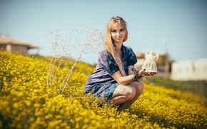 Картинка лето, девушка, улыбка, платье, цветы жёлтые