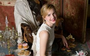 Картинка улыбка, актриса, сладости, Emma Watson, антиквариат