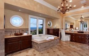 Картинка вилла, интерьер, зеркало, люстра, ванна, шкаф, помещение