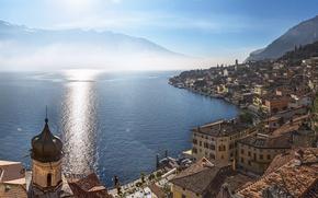 Картинка горы, озеро, здания, дома, Италия, панорама, Italy, Ломбардия, Lombardy, озеро Гарда, Lake Garda, Lago di …