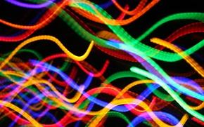 Картинка лучи, свет, линии, огни, цвет
