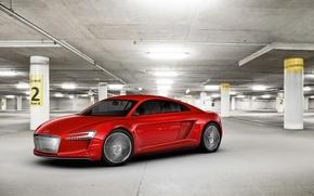 Обои красный, Audi, гараж, концепт-кар, Е-tron