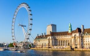 Картинка небо, река, Англия, Лондон, дома, колесо