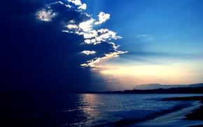 Картинка море, небо, солнце, облака, лучи, природа, голубое, Nature, sky, sea, blue, sun rays, slouds