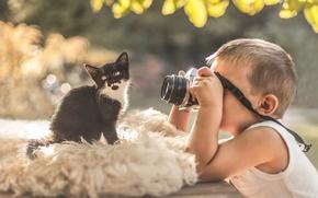 Картинка мальчик, фотоаппарат, котёнок, фотосессия