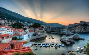 Картинка пейзаж, восход, бухта, панорама, катера, Хорватия, Croatia, Дубровник, Dubrovnik