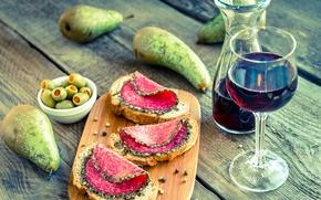 Обои оливки, sausage, wine, bread, olives, вино, бутерброды, хлеб, колбаса, груши, специи, pear