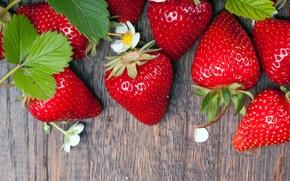 Картинка ягоды, клубника, wood, strawberry, fresh berries