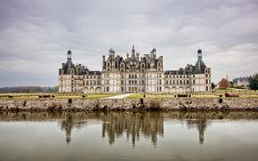 Обои небо, вода, Облака, замок, Франция