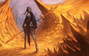 Картинка девушка, оружие, скалы, арт, копье, острые