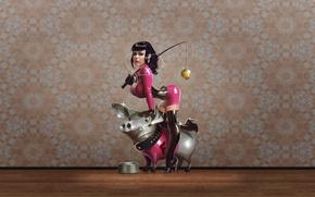 Обои миска, свинья, наушники, обои, розовый, латекс, плеер, яблоко, удочка, девушка, бюст, ошейник