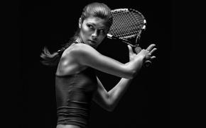 Картинка взгляд, девушка, майка, ракетка, коса, теннис