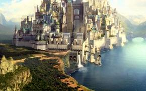 Обои море, мост, сооружение, город