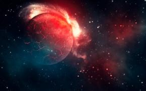 Картинка космос, звезды, трещины, планеты