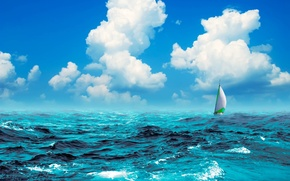 Картинка море, яхта, парус