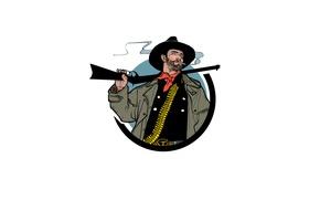 Картинка оружие, сигарета, шляпа, дым, ковбой, винтовка