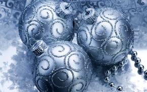 Обои шарики, украшения, праздник, блестки, голубой