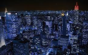 Картинка свет, ночь, город, Нью-Йорк, New York