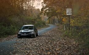 Обои stance, Outback, black, субару, осень, Subaru