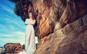 Картинка взгляд, девушка, скалы