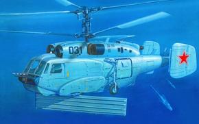 Картинка море, небо, рисунок, корабли, вертолёт, советский, ВМФ СССР, дозора, радиолокационного, Helix-B, Ка-31