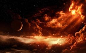 Обои планеты, космос, звезды, облака