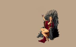 Картинка fantasy, vintage, pinup, minimalism, background, Game of Thrones, Cersei Lannister, throne, Cersei Baratheon, tv series, …