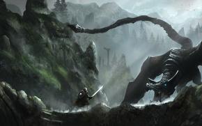 Обои дракон, скалы, Skyrim, горы, лес