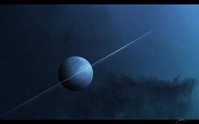 Картинка звезды, туманность, луна, планета, кольца