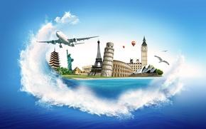 Картинка море, эйфелева башня, чайки, Колизей, пирамида, самолёт, Биг Бен, статуя Свободы, Сиднейский оперный театр, Пизанская …